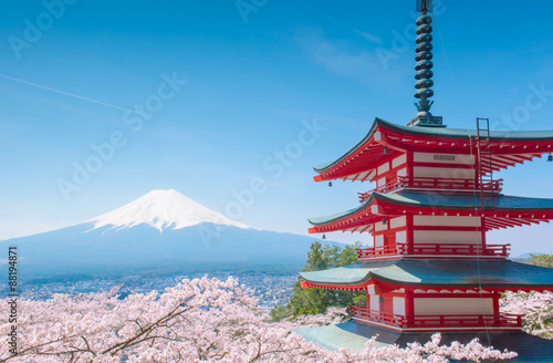 Chureito pagoda,background is fuji mountain,Japan Canvas-taulu
