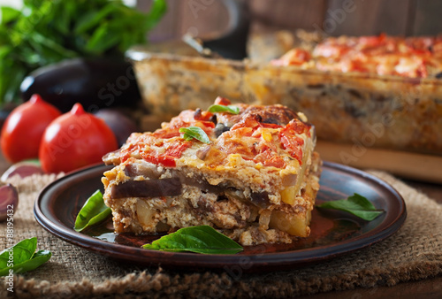 Photo Stands Ready meals Moussaka - a traditional Greek dish