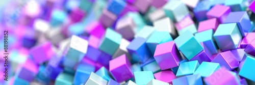 obraz dibond Random cubes background, 3d illustration.