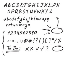 Hand Drawn Black Marker Set Of Alphabet Letters, Numbers And Punctuation, Along With A Few Doodles: Arrows, Circles And Other Symbols. Messy And Quick Handwriting.