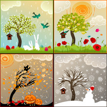Four Seasons Themed Illustrati...