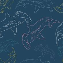 Hammerhead Shark Seamless Vector Pattern