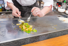 Chef Preparing Fresh Vegetable Stir Fry