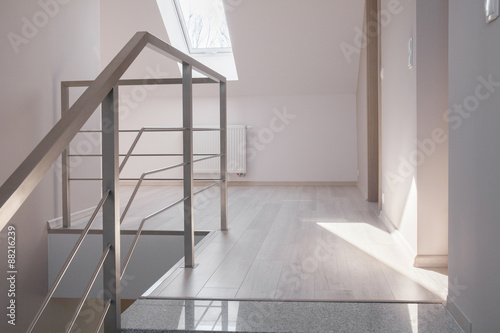 Steel handrail and marble stairs Canvas Print
