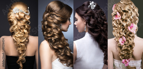 Foto op Plexiglas Kapsalon Collection of wedding hairstyles. Beautiful girls. Beauty hair.