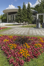 Flower Bed, Spa Building And Monument Of Boris Kidric In Rogaska Slatina