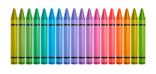 Line Of Colored Crayons