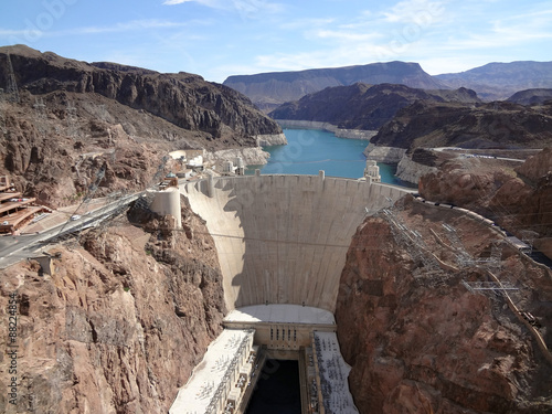 Deurstickers Dam Hoover Dam and Colorado River