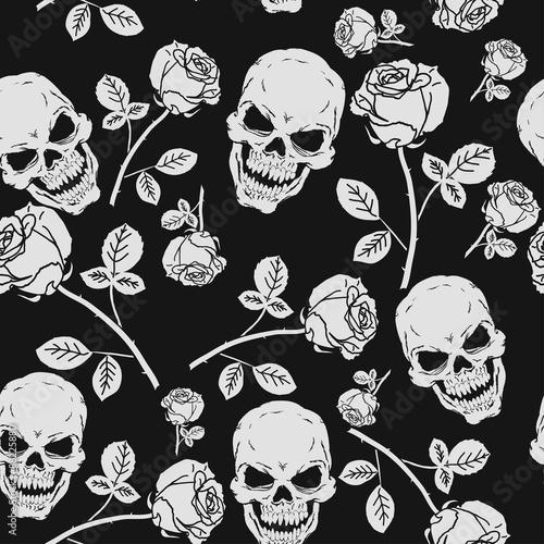 Materiał do szycia Róże i czaszki wzór