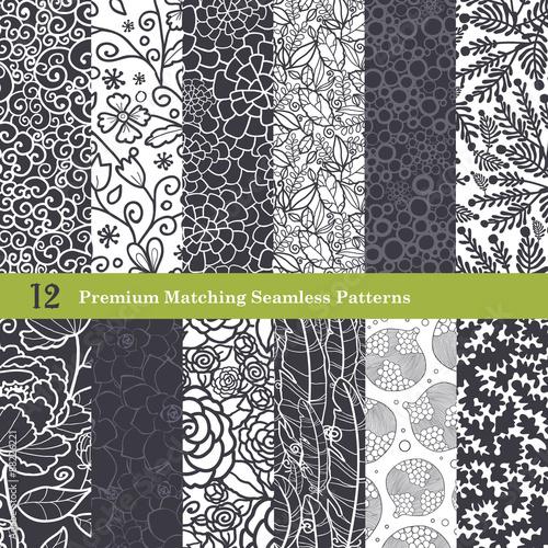Vector Black White Natural Flat 12 Set Seamless Pattern
