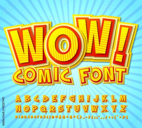 Fotobehang Pop Art Creative high detail yellow-red comic font. Alphabe, comics, pop art.