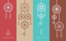 Dream Catcher Boho Flat Line Icons Set