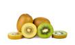 Yellow gold and green kiwi on white background