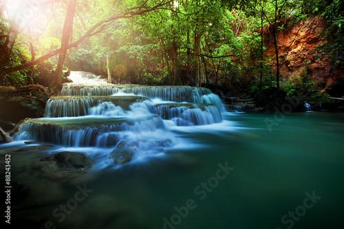 Küchenrückwand aus Glas mit Foto Wasserfalle huay mae kamin water falls in deep forest of kanchanaburi wester
