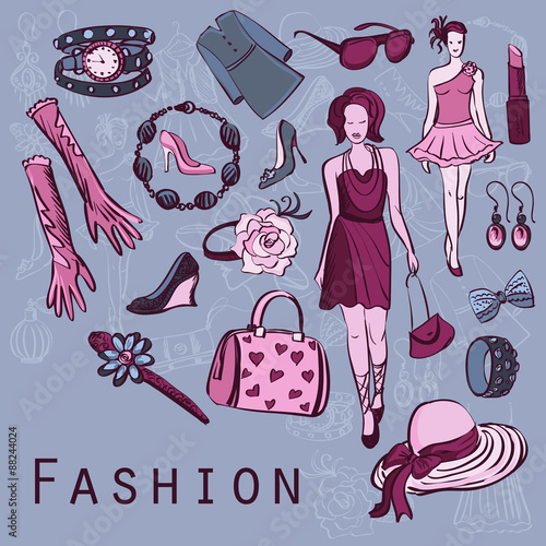 Poster Doodle Hand drawn fashion background