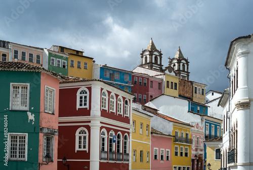 Fotografía  Brazil, Salvador,  the old Pelourinho district seen from Peolurinho sqare