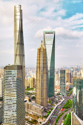 Photo  Skyscrapers, city building of Pudong, Shanghai, China.