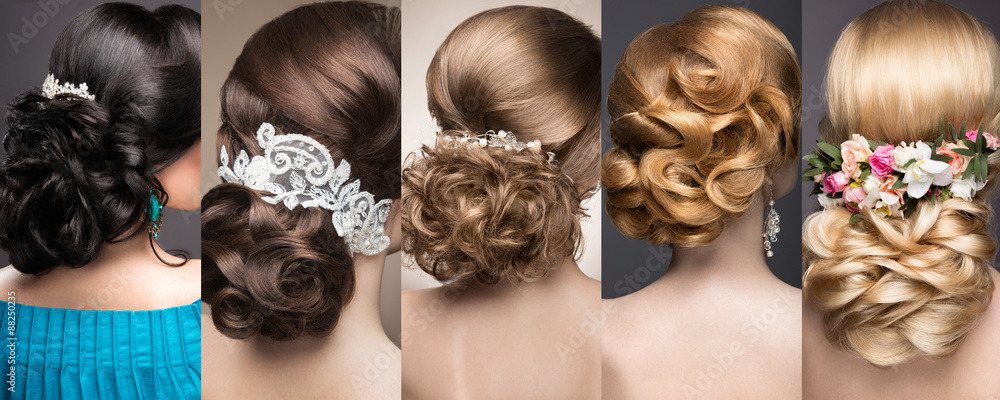 Fototapety, obrazy: Collection of wedding hairstyles. Beautiful girls. Beauty hair.