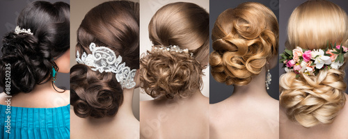Tuinposter Kapsalon Collection of wedding hairstyles. Beautiful girls. Beauty hair.