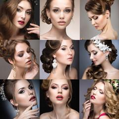 Panel Szklany Do salonu kosmetycznego Collection of wedding makeup. Beautiful girls. Beauty face.