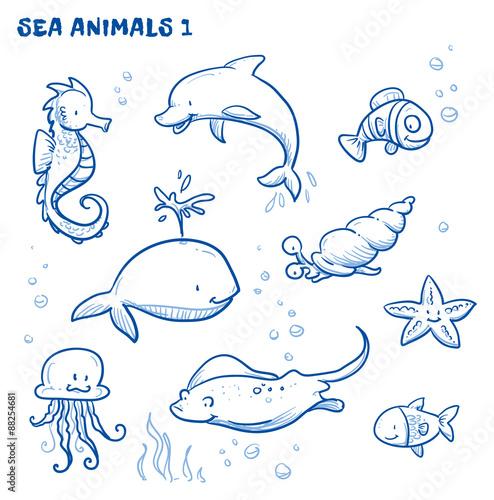 Cute cartoon sea water animals. Whale, fish, dolphin, jellyfish, seahorse, snail, ray, starfish. Hand drawn doodle vector illustration. #88254681