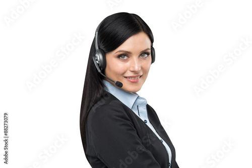 A brunette support phone operator in headset. Isolated on white background.