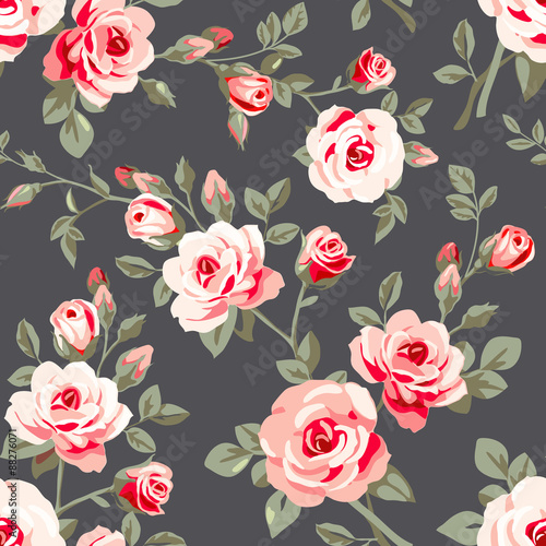 Foto-Tapete - Seamless pattern with pink roses (von Gizele)