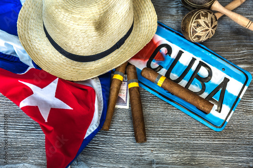 фотография  Cuban concept table of some related items