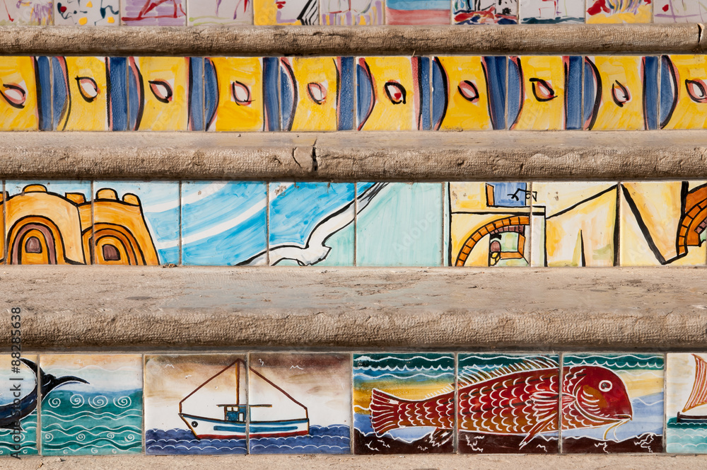 Photo Art Print Close Up View Of Some Steps Decorated With Painted