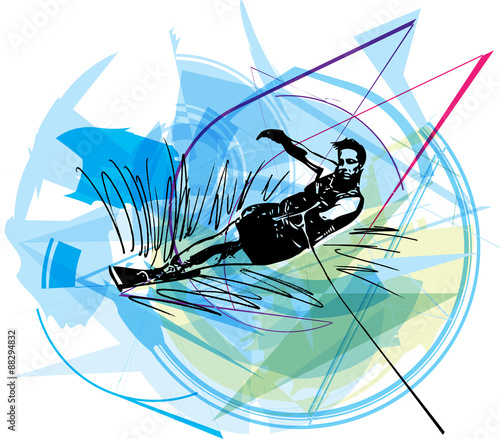 Fotografie, Obraz  Water skiing illustration