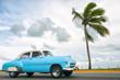 Classic vintage American car drives along a coastal road next to single palm tree in Varadero, Cuba