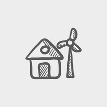 House With Windmill Sketch Icon