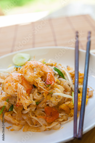 Stir-fried rice noodles (Pad Thai) is the popular food in Thaila Canvas Print