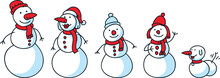A Cartoon Snow Family With Snowman And Mom, Children And A Snow Dog.