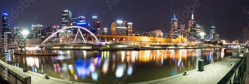 Poster Australie Melbourne night life panorama view, Melbourne, Victoria, Australia.