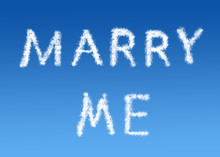 Marry Me Cloud Text On A Blue ...