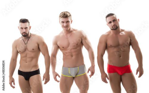 Fotografie, Obraz  Photo of three sexy macho with bare torsos