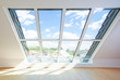canvas print picture - helles Dachgeschosszimmer mit großem Fenster