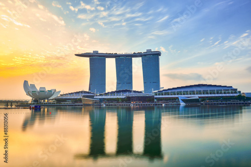 Poster Singapore Singapore Skyline and view of Marina Bay