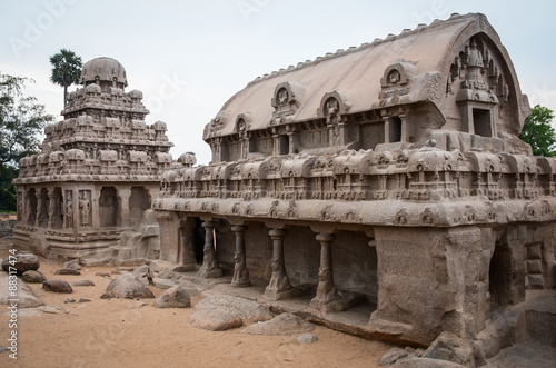 Fotografie, Obraz  Five rathas complex with  in Mamallapuram, Tamil Nadu, India