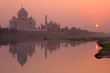 Taj Mahal Reflected In The Yamuna River At Sunset, Agra, Uttar Pradesh