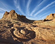 Sandstone Formations With Clouds, Coyote Buttes Wilderness, Vermilion Cliffs National Monument, Arizona