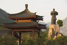 Pavilion And Kung Fu Monument At Shaolin Temple, Birthplace Of Kung Fu Martial Art, Shaolin, Henan Province, China