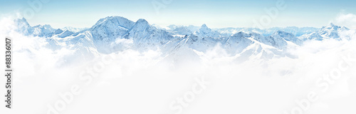Poster Bergen Panorama of winter mountains in Caucasus region,Elbrus mountain, Russia