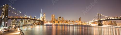 Panoramic View Manhattan Bridge, Brooklyn Bridge and Manhattan Skyline at night - 88341060