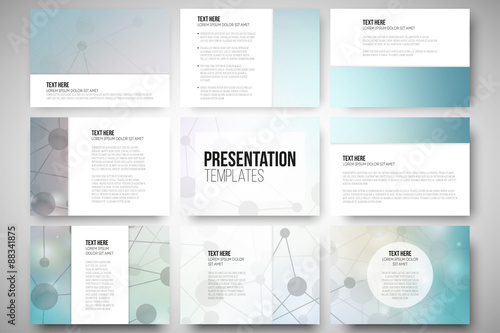Fotografie, Obraz  Set of 9 templates for presentation slides. Molecular structure