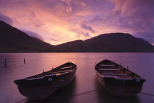 Rowing Boats On Crummock Water At Sunset, Lake District National Park, Cumbria