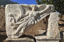Relief Of Nike, Winged Goddess Of Victory, Roman Ruins Of Ancient Ephesus, Near Kusadasi, Anatolia, Turkey Minor