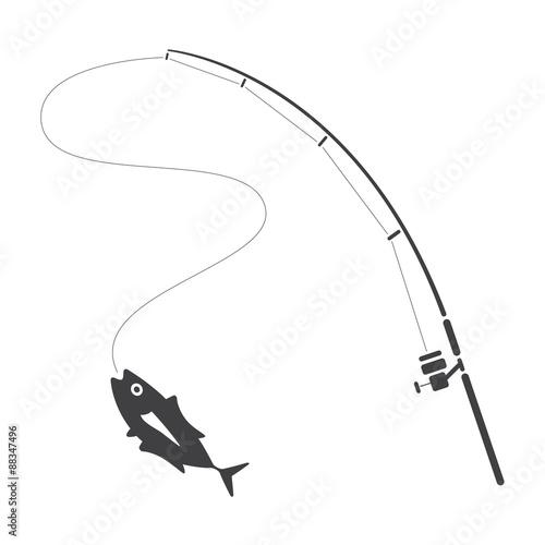 fishing clip art, vector Wall mural