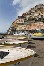 Traditional Fishing Boats And The Colourful Town Of Positano, Amalfi Coast (Costiera Amalfitana), Campania, Mediterranean